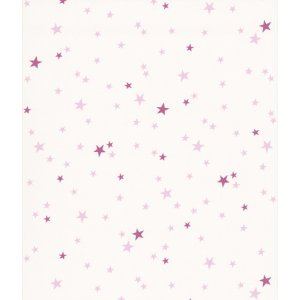 White wallpaper with purple stars Les Petits Curieux
