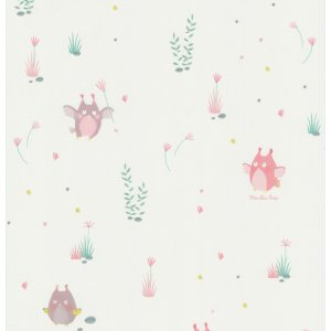 Wallpaper with small owls Les Petits Curieux