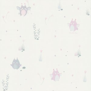Wallpaper with small pastel owls Les Petits Curieux
