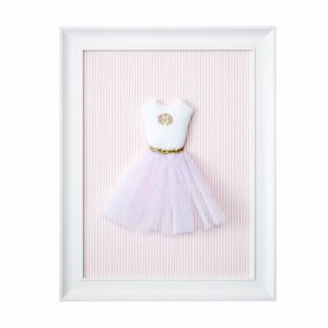 Golden chic textile picture with a tutu dress