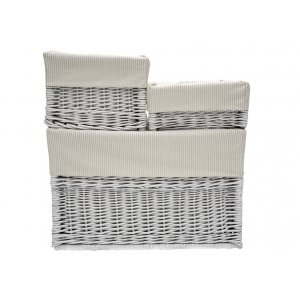 White wicker box with beige striped liner