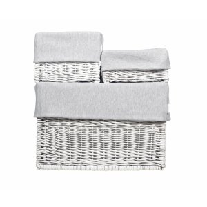White wicker box with grey liner