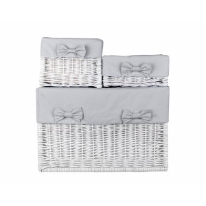 White wicker box with grey cube liner