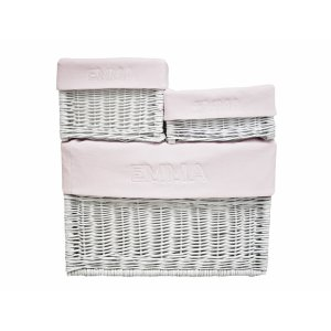Customized white wicker box with baby pink liner