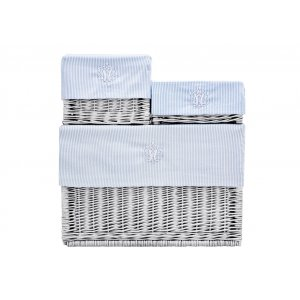 White wicker box with azure striped liner
